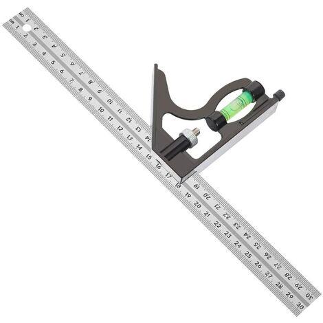 Équerre Combinée 300 mm Acier Inoxydable Règle d'angle de Combinaison Combinaison Carrée Outils de Mesure