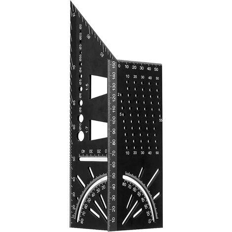 """main image of """"Équerre Menuisier 3D, Angle Règle Alliage d'Aluminium 45 90 Degrés d'Onglet Travail du Bois Règle de Mesure Poutres Tubes Tridimensionnel pour Décorative, Équerre noire Metal Outillage Bois"""""""