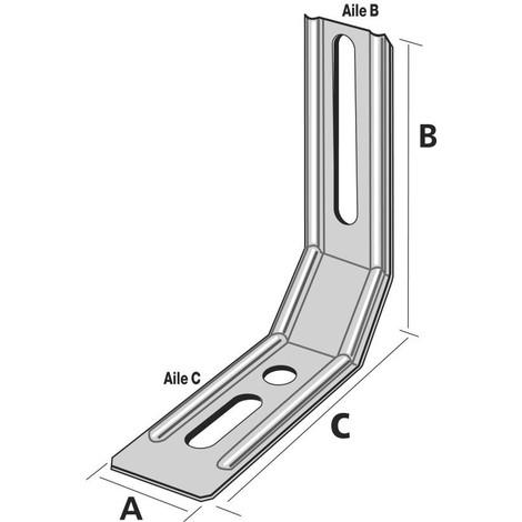 Équerre nervurée à pan coupé SIMPSON A30xB85xC71,5x1,5mm - ENPC85/1.5