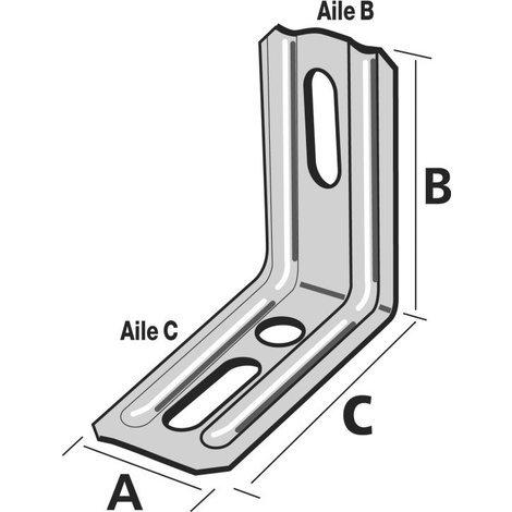 Équerre nervurée droite SIMPSON A30xB55xC71,5x1,5mm - END55/1.5