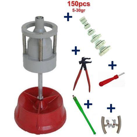 Equilibreuse de Pneu Manuelle Portable avec Centreur + 150 Plombs a Frapper 5-30gr+ Kit Equilibrage Roue