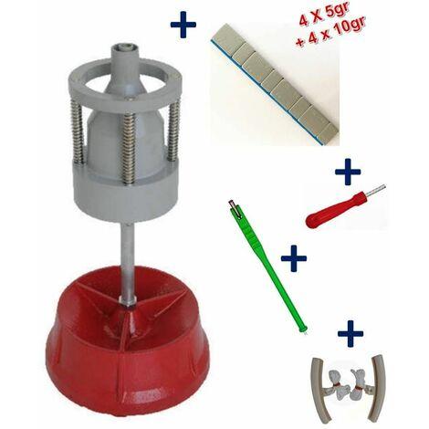 Equilibreuse de Roue Manuelle Portable avec Centreur + 100 Barrettes Plombs Adhésifs 12x5gr + Kit Equilibrage Roue