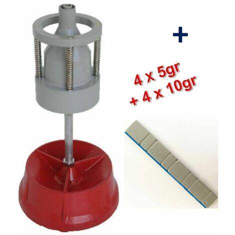 Equilibreuse de Roue Manuelle Portable avec Centreur + 100 Barrettes Plombs Adhésifs 4x5g+4x10g