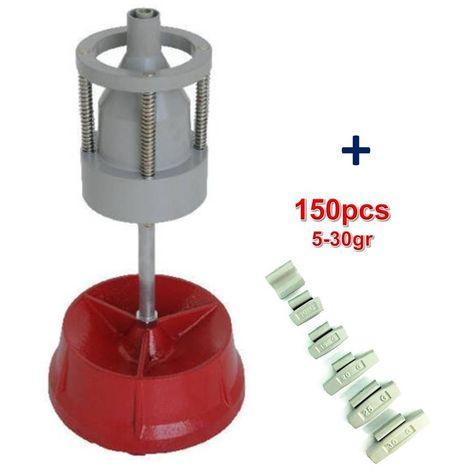 Equilibreuse de Roue Manuelle Portable avec Centreur + 150 Plombs Masse a Frapper 5-30gr