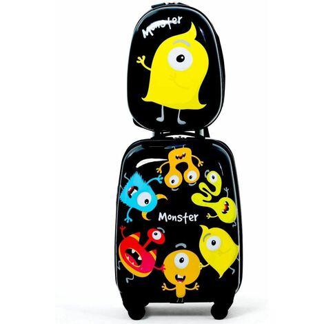 Equipaje Cabina Infantil Trolley Maleta de Viaje con 4 Ruedas Giratorias y Mochila para Niños (Negro)