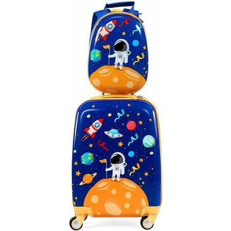 Equipaje Intantil Trolley Juego de Mochila y Maleta con Ruedas de Viaje para Niños (Azul Oscuro)