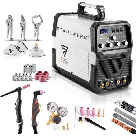 Equipo completo STAHLWERK AC/DC TIG 200 Plasma ST IGBT Máquina de soldar TIG + MMA Kombi 200 A con cortador de plasma de 50 Amp CUT, 7 años de garantía