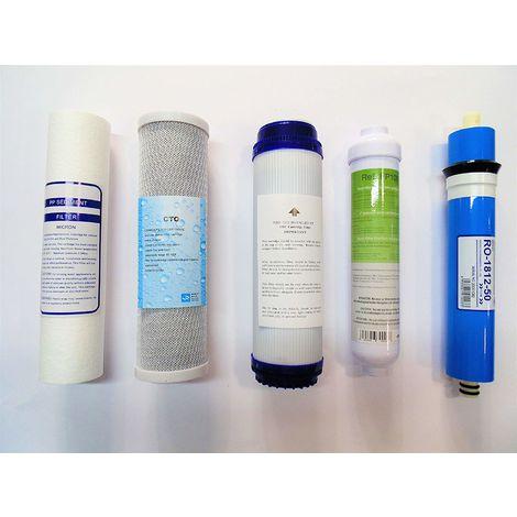 Equipo de Osmosis - Paquete De 4 Filtros De Osmosis + Membrana