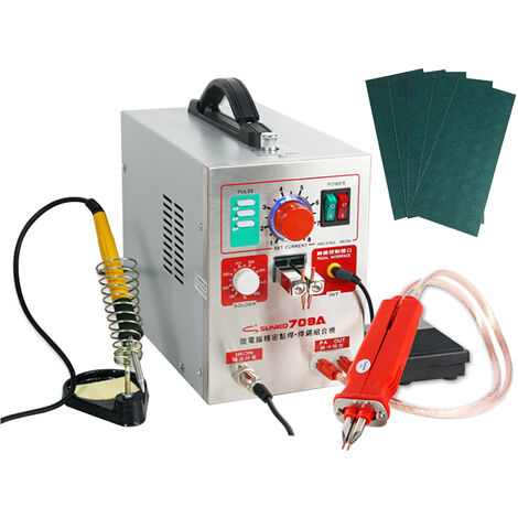 Equipo de soldadura de bateria para soldador por puntos con boligrafo de soldadura movil y soldador de temperatura constante Maquina de soldadura por pulsos de precision inteligente con interruptor de pedal (709A)