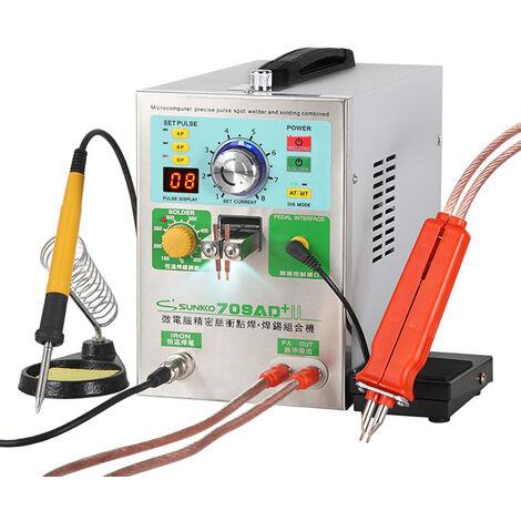 Equipo de soldadura de bateria para soldador por puntos KKmoon con boligrafo de soldadura movil y soldador de temperatura constante Maquina de soldadura por pulsos de precision inteligente (709AD +), enchufe de la UE