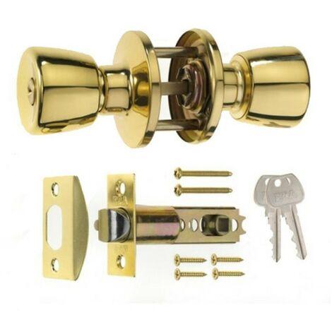 "main image of ""ERA 166-32 Entrance Locking Door Knob Set Brass"""