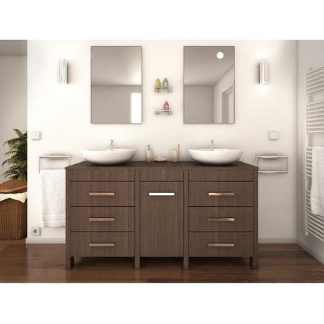 ERA Ensemble salle de bain double vasque L 150 cm - Decor bois legno sombre