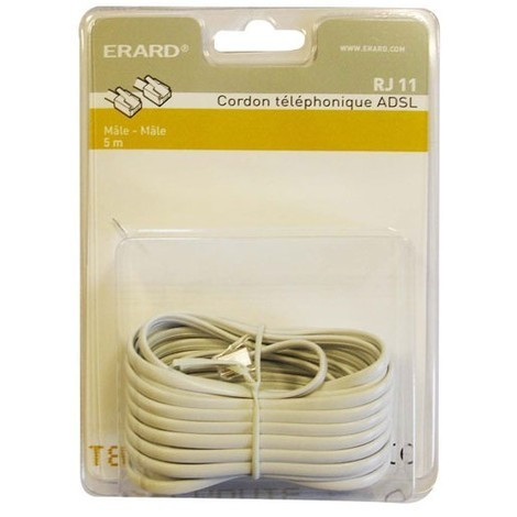 ERARD CONNECT - Cordon RJ11 haut-débit ADSL mâle/ RJ45 mâle 5 m - blanc