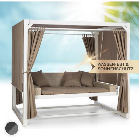 """main image of """"Eremitage Luxus-Hollywoodschaukel 236 x 210 x 180 cm Sonnendach Vorhänge"""""""