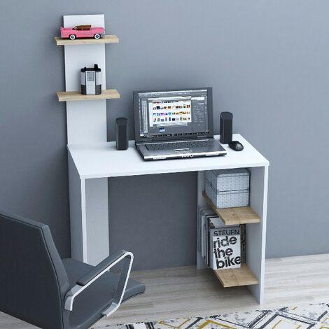 Eren Escritorio con estantes - de la sala de estar, dormitorio, estudio, oficina - Blanco, Roble en Madera, 91 x 50 x 140 cm