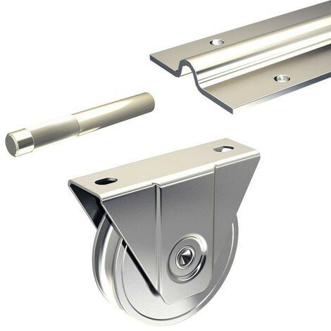 Ergänzungsset Schiebetorbeschlag SLID'UP 1600 mit Bodenlaufschiene 585 cm (3x 195 cm) für Tore bis 400 kg