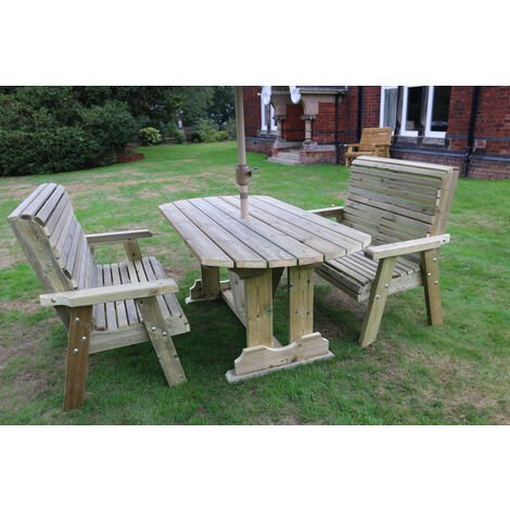 Ergo Table Bench Set - Sits 6, wooden garden dining furniture