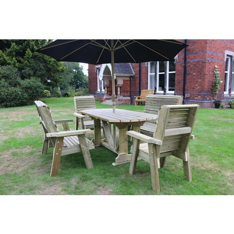 Ergo Table Set - Sits 6, wooden garden dining furniture with table and chairs
