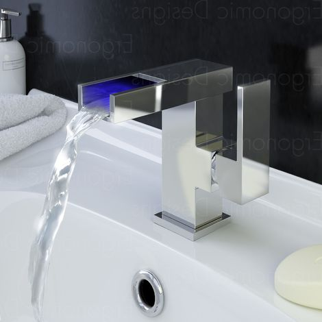 Ergonomic Designs Chrome Led Side Action Cloakroom Mono Basin Tap