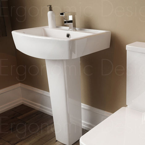 Ergonomic Designs Rubix Square 520mm Ceramic Pedestal Basin White 1th