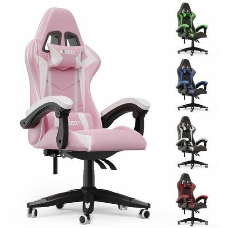 Ergonomic Leather Computer Gaming Seat | Adjustable Office Chair - Pink and White