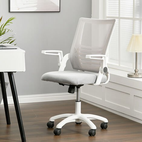 Ergonomic Mesh Chair Executive Office Computer Desk Adjustable Swivel High Chair, Black and White