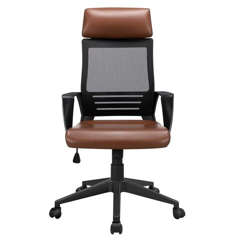 Ergonomic Office Chair Adjustable and Swivel Desk Chair with Mesh Lumbar Support and PU Leather Paded Seat