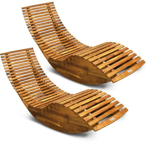 Ergonomic Sauna Swing Lounger Garden Patio FSC®-Certified Acacia Wood