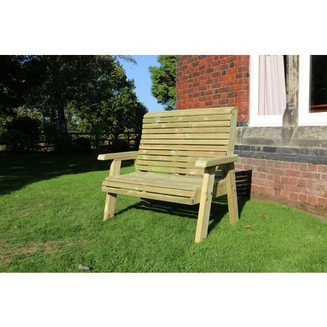 """main image of """"Ergonomical 2 Seater Bench, wooden garden chair – FULLY ASSEMBLED"""""""