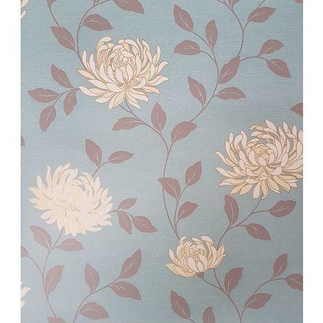 Erin Teal Floral Patterned Wallpaper