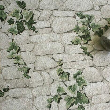 Erismann 7519-2 Stein Efeu Motif Wallpaper, Ivy White