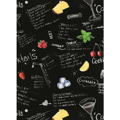Erismann Black & White Cocktail Wallpaper