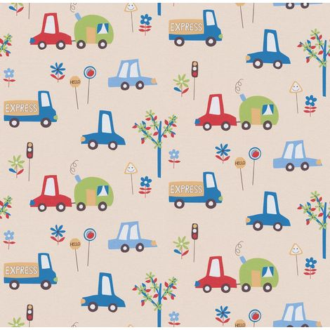 Erismann Car Print Children's Beige Wallpaper