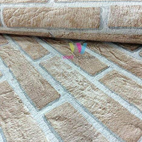 Erismann House Brick Pattern Wallpaper Double Embossed Realistic Textured (Beige 4303-4)