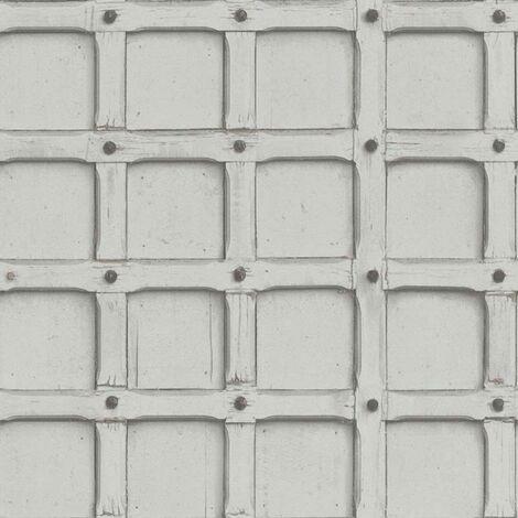 Industrial Retro Wood Geometric Grey Silver Wallpaper Textured Loft Illusion