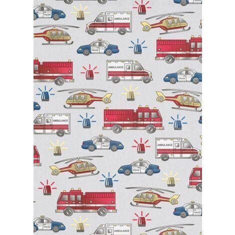 Erismann Kids Vehicle Fire Engine Police Car Helicopter Vinyl Wallpaper