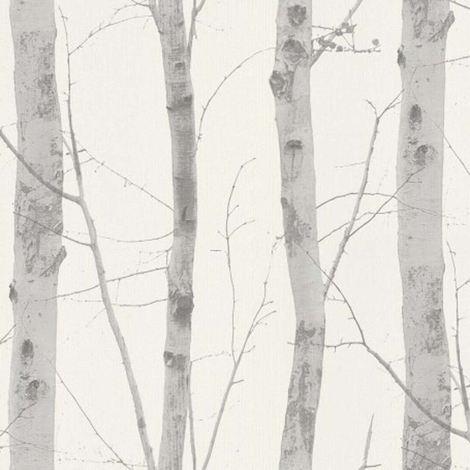 Birch Tree Wallpaper Silver White Grey Deluxe Textured Vinyl Glitter Tropical
