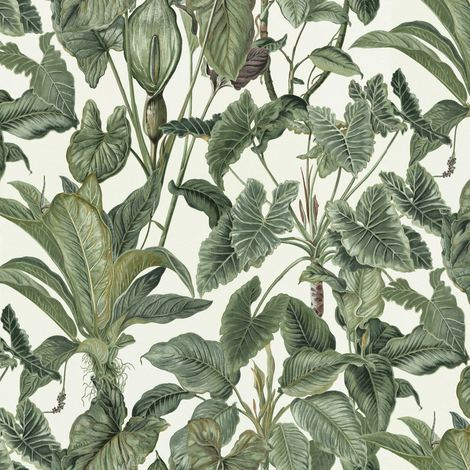 Erismann Paradiso Wallpaper Jungle Green Leaves Paradise Tropical Feature Vinyl