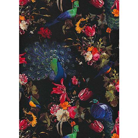 Erismann Peacock Floral Black wallpaper