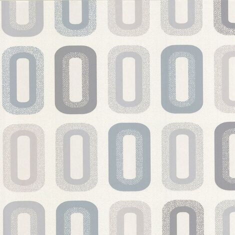 Erismann Retro Vinyl Cream Grey Blue Wallpaper Textured Washable Wall covering