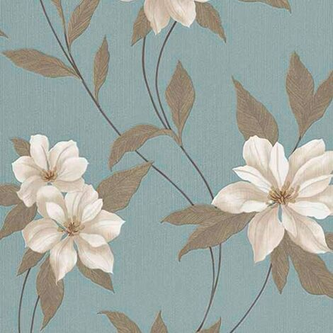 Erismann Spring Blown Vinyl Wallpaper Teal 9500-08 Full Roll