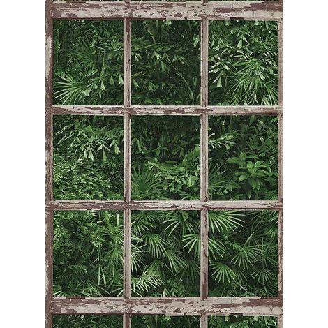 Erismann Tropical leaf Window Frame Wallpaper
