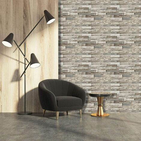 Erismann Wallpaper - Old Weathered Wood Panels / Planks - Grey & White - 7319-10