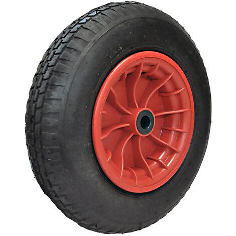 Ersatz-Reifen Ø 400mm schwarz für Schubkarre Sackkarre Rad 4.00-8 PLY2 auf rote Kunststofffelge