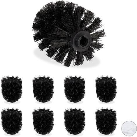 Ersatzbürstenkopf für Klobürste, 9er Set, Ersatz WC Bürstenkopf, Kunststoff, 12 mm Gewinde, D: 7 cm, schwarz