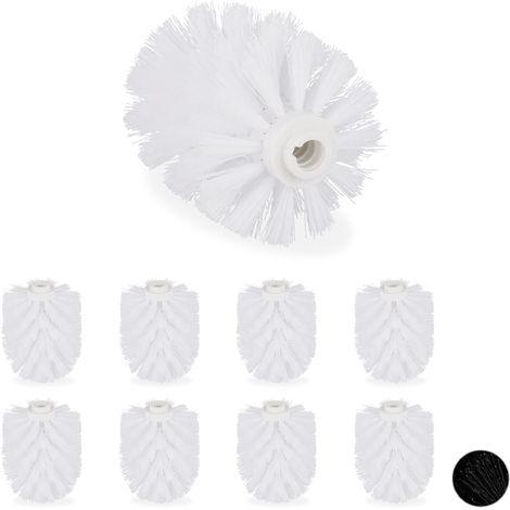 Ersatzbürstenkopf für Klobürste, im 9er Set, Ersatz WC Bürstenkopf, Kunststoff, 12 mm Gewinde, D: 7 cm, weiß