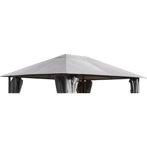 Ersatzdach für Garten Pavillon 3x4m Grau Pavillondach Ersatzbezug
