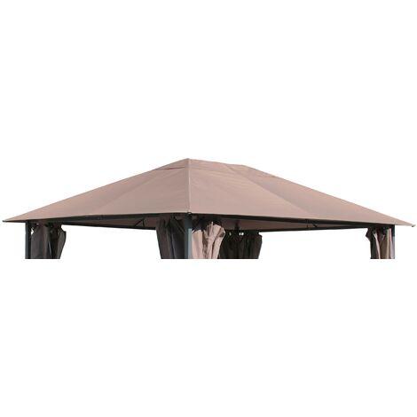 Ersatzdach für Garten Pavillon 3x4m Taupe / Beigegrau RAL 7006 Pavillondach Ersatzbezug