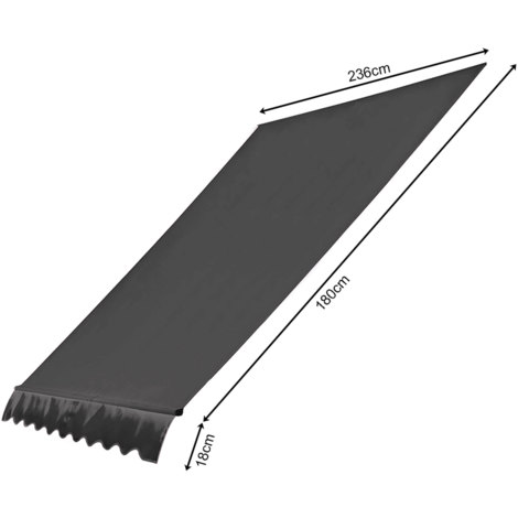 Ersatzdach für Klemmmarkise 250x130cm Grau Balkon Sonnensegel Ersatzbezug