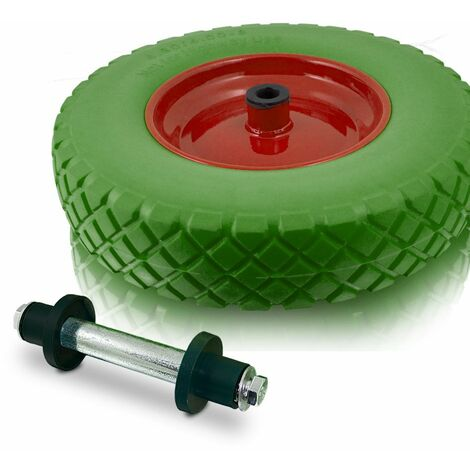 Ersatzrad 40cm PU Ersatzreifen für Schubkarren Gartenkarren 4.80/4.00-8 7 Achsdurchmesser 20mm Naben 87mm bis 250kg (Grün)